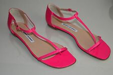 NEW MANOLO BLAHNIK STRAPPY SANDALS FLATS HOT PINK PATENT LEATHER Flat SHOES 40
