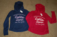 NWT AEROPOSTALE Embroidered Stacked Pullover Hoodie Pink Navy XS S M XL LQQK FS!