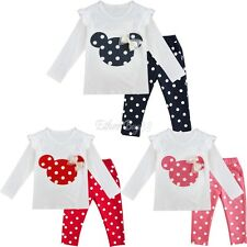 Baby Toddler Kids Girls Clothes Set Minnie Tops + Pants Cartoon Cotton Outfits