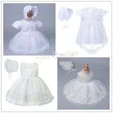 Baby Girls Christening Gown Baptism Gown White Lace Dresses Outfit With Bonnet
