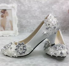 Wedding shoes Lace Crystal Bridal Bridesmaid shoes Flat High Low Heels shoes