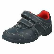 BOYS CLARKS FLASH FUN NAVY LEATHER SHOES RIPTAPE STRAPS FLASHING LIGHTS TRAINERS