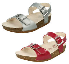 GIRLS CLARKS VOLKINICON COATED LEATHER F FIT SILVER & RASPBERRY OPEN TOE SANDALS