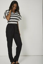 Black And White Crochet Detailed Jump Suit