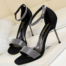 New Womens Peep Toe Ladies Ankle Strap Sandals High Heel Stiletto Party Shoes