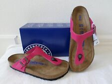 New Birkenstock Women's Gizeh Soft Footbed Sandals Pink Nubuck Leather 38 39 40