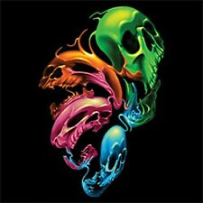 Distorted Skulls T-Shirt Neon Black light Colorful Warped Skull Tee