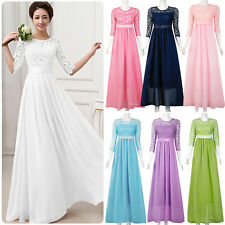 Long Chiffon Lace Evening Formal Party Ball Gowns Prom Women Bridesmaid Dress