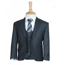 Boys Charcoal Grey Suit Designer Page Boy Wedding Slim Fit Communion Grey Suits