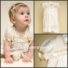Baby Baptism Gowns Lace Christening Dresses Custom With Bonnet White Ivory 2017