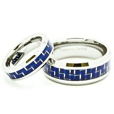 Matching Rings - 6mm & 9mm Tungsten with Blue Carbon Fiber Inlay Wedding Bands