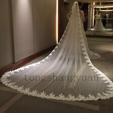 Wedding Veils Lace Applique 1 T White Ivory Cathedral Bridal Veil With Comb 2017