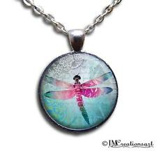 Handmade Glass Dome Bezel Pendant Necklace Beautiful Dragonfly Stunning AN149