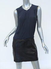 Rebecca Taylor Dress Wrap Front Crepe and Leather Navy and Black Size 6