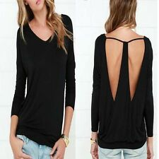 Shirt Women Tops Backless Sexy Cotton Bottom Blouse Casual Blouse Long Sleeve