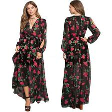 Long Maxi Dress Women Floral Party Dress Summer Chiffon Boho Beach Dress Y5B9
