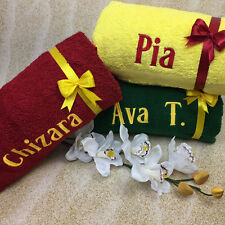 New EMBROIDERED PERSONALISED BATH TOWEL Ideal TOWEL SETS With ANY NAME