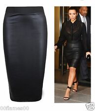 WOMENS WET LOOK FAUX LEATHER PENCIL BODYCON HIGH WAISTED MIDI SKIRT UK SIZE 8-22