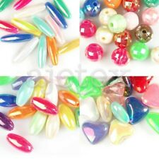 15/35/40/50pcs Acrylic Beads AB Plated 8/12/20/25mm Oval/Round/Heart Assorted