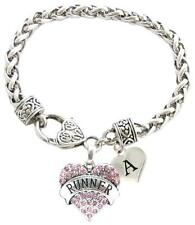 Custom Pink Runner Heart Silver Bracelet Jewelry Choose Family or Initial Charms
