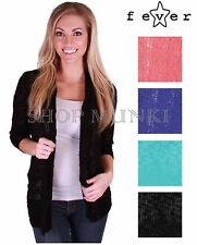 Fever Womens Open Front 3/4 Sleeve Slub Knit Loose Fit Cardigan Sweater