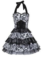 Skull Gothic Lace Up Flared Vintage Style Victoriana / Mini Club Dress New 8- 16