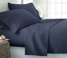 New British Bedding Collection 100% Organic Cotton 1000 TC Navy Blue Solid