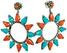 KENNETH JAY LANE-LARGE CIRCLE DROP EARRING-CORAL/TURQUOISE, ALL CRYSTAL, PINK...