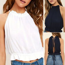 Fashion Women's Summer Round Neck Sleeveless Tank Crop Sexy Tops Back Knot New