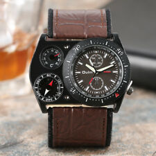 OULM Compass Deco Outdoor Military Army Leather Band Men Quartz Wrist Watch Gift