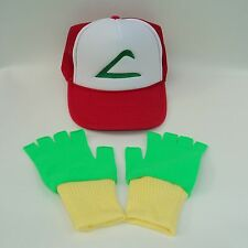Pokemon Ash Trainer Costume Hat and Gloves Set Green/Yellow Choose Sze US Seller