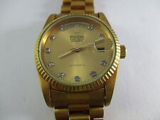 BULOVA SUPER SEVILLE MENS WATCH DAY AND DATE AUTOMATIC stone index