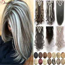 AU Lady Clip in Hair Extension Full Head 8 Piece Straight With 5% Human Hair T2a