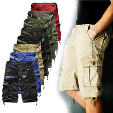 Summer Mens Casual Work Combat Cargo Chino Shorts Pocket Pant Army Trouser 29-36