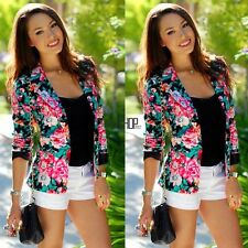 Fashion Womens Floral Long Sleeve Jacket Coat Slim Blazer Suit Casual KECP01