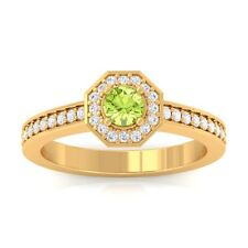 Green Peridot IJ SI Gemstone Diamond Engagement Ring Women Yellow Gold