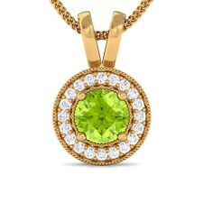 Green Peridot IJ SI Diamond Round Halo Gemstone Pendant Women Yellow Gold