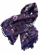 ladies large square silk scarf/shawl with bobbles in purple and blue
