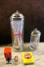 Two cool Coca Cola Coke Straw Dispensers plus Salt & Pepper shaker Cards and Pin