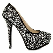 Concealed Platform Stiletto High Heel Diamante All-Over Court Shoe