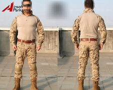 Tactical Military Army Combat Uniform Shirt Pants w/ Elbow Knee Pads AOR1 Camo