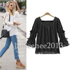 Women Sexy Boho Lace Up Top Flare Bell Sleeve Blouse Lady Loose Casual Shirt Hot