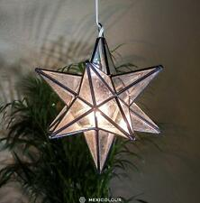 Moravian Star Lamp CLEAR Water Glass Handcrafted Pendant Light Chandelier Metal