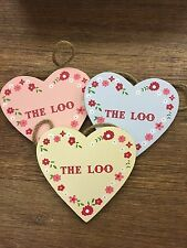 Sass & Belle Ditsy Heart  THE LOO Pink / Blue / Yellow Floral Sign BRAND NEW