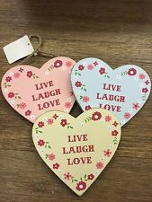 Sass & Belle Ditsy Heart LIVE LAUGH LOVE Pink / Blue / Yellow Floral Sign NEW