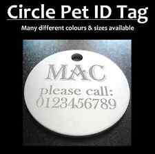 Aluminium Circle Pet ID Tag With FREE Engraving for Dog Cat Tags & FREE postage