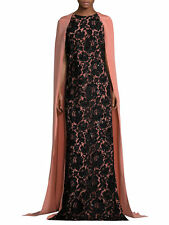$5190 New Oscar de la Renta Peach Black Lace Embroidery Cape Caftan Gown XS S