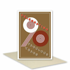 Celebrating 90 fabulous years 90th Happy Birthday Card for her for him granddad