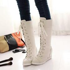 Fashion Winter Women's Wedge Heels Lace Up Riding Boots knee High Boots Size