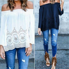 Boho Womens Sexy Off Shoulder Strapless Long Sleeve Tops Blouse Beach Shirts CCQ